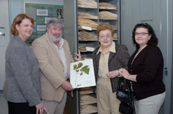 Herbarium Dedication - Visiting the collection are daughter Kim, left, herbarium curator Dr. Zack Murrell, Mrs. J. Lou (Bill) Carpenter and daughter Carol.